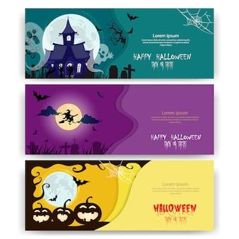 Halloween-feestuitnodigingen of wenskaarten