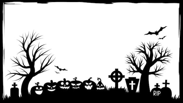 Halloween-feestuitnodigingen of wenskaartenbanner met traditionele halloween-symbolen. flyer met plaats voor tekstvoorbeeld met textuur in een eenvoudig grungeframe. vectorillustratie in zwart-wit.