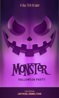 Halloween-feestvlieger met eng gezicht