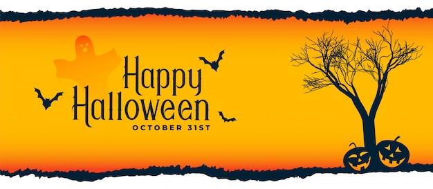 Halloween-festivalscène met boom, vliegende knuppels en pompoenen