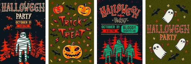 Halloween flyer set.