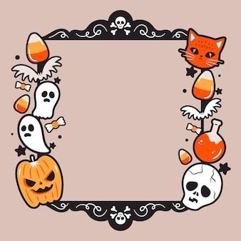 Halloween-frame in plat ontwerp