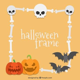 Halloween frame met botten en pompoenen