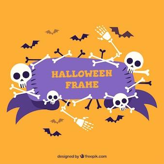 Halloween frame met botten en vleermuizen