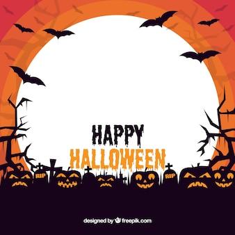 Halloween frame met griezelige pompoenen