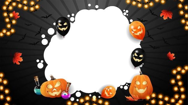 Halloween-frame met pompoen, kolf met toverdrank, ballons en lichte slinger