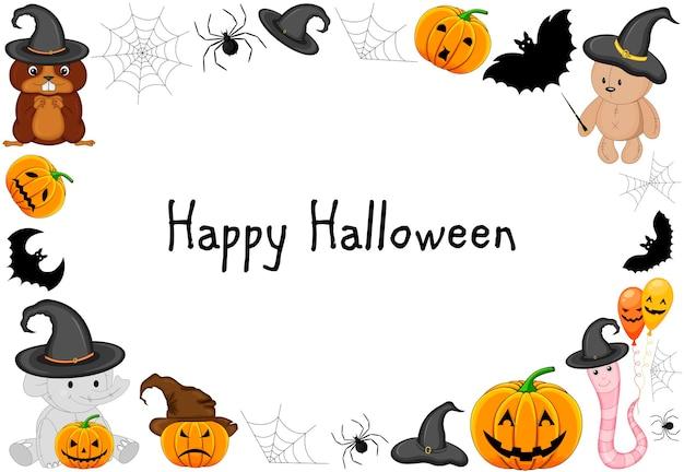 Halloween frame voor uw tekst met traditionele attributen. cartoon-stijl. vector illustratie.