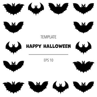 Halloween-frame voor uw tekst met traditionele attributen. cartoon stijl.