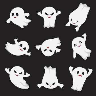 Halloween geest. spookachtige schattige stripfiguren.