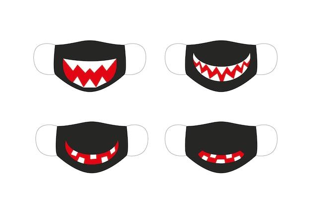 Halloween gezichtsmasker. set van vector masker voor halloween.