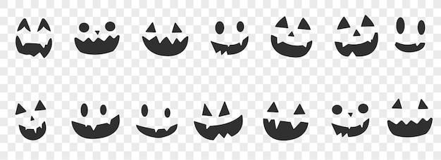 Halloween-gezichtsreeks. griezelige pompoenglimlach. vector illustratie