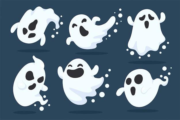 Halloween ghost cartoon. de enge en kwade geesten vlogen naar buiten om mensen vrolijk te achtervolgen op halloween.