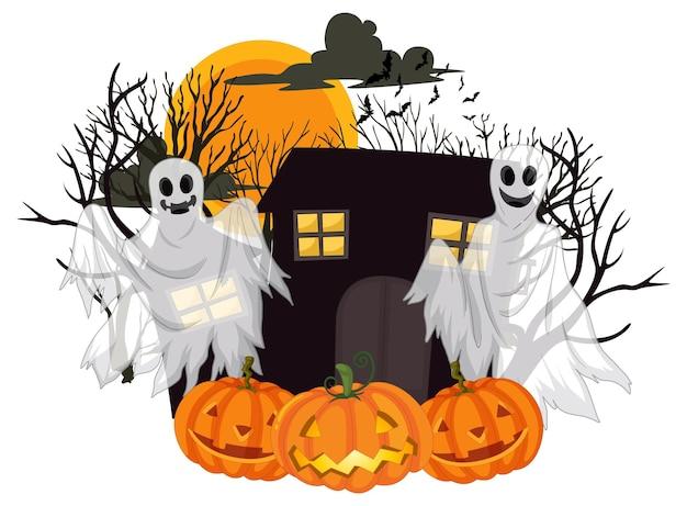 Halloween ghosts met jack-o'-lantern