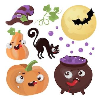 Halloween goederen hand getekend platte ontwerp cartoon clip art magic horror vakantie