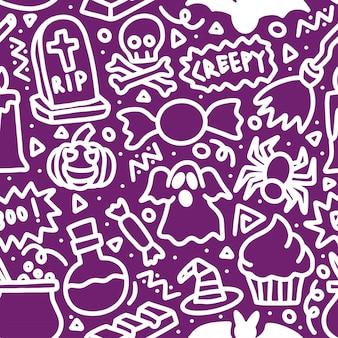 Halloween griezelig mono doodle naadloze lijnpatroon