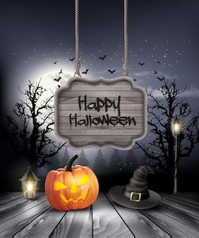 Halloween griezelige achtergrond met houten bord. vector