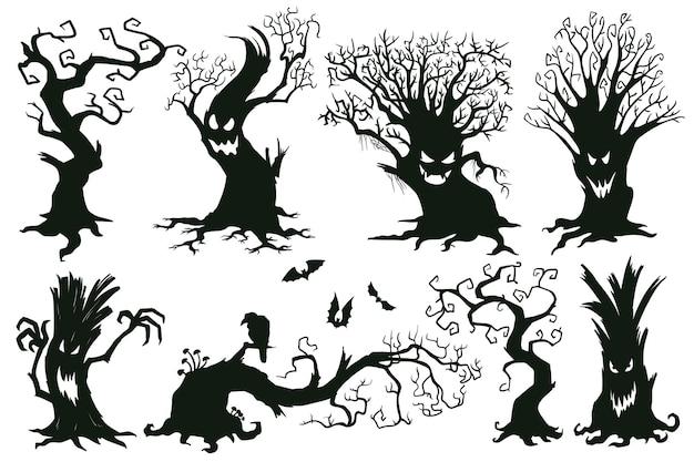 Halloween griezelige bomen. cartoon verslaafd bomen, enge halloween bomen met snuiten vector illustratie set. griezelige halloween-bomen