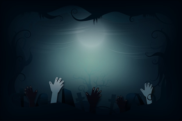 Halloween griezelige nacht achtergrond papier kunststijl. zombiehand stijgt van kerkhof. illustratie.