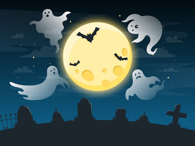 Halloween griezelige poster. vliegende schrikgeesten, griezelig spookhalloween-karakter op donkere onheilspellende achtergrond, halloween-afficheillustratie. poster halloween met horror spoken