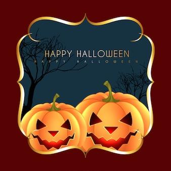 Halloween-groet met pompoenen