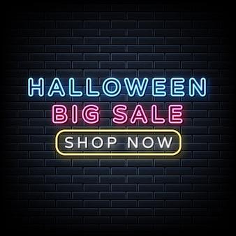 Halloween grote verkoop neonteken, lichte banner, aankondiging neon uithangbord.