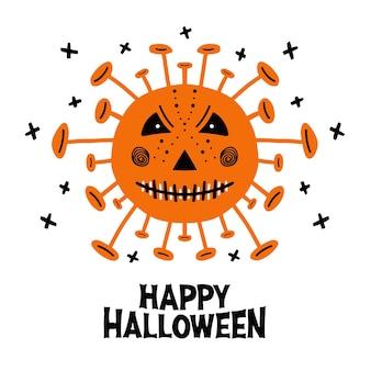 Halloween hand getekend coronavirus bacteriën met eng gezicht en belettering. geïsoleerd op witte achtergrond.