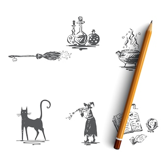 Halloween hand getekende illustratie