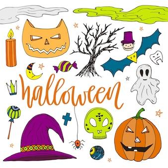 Halloween hand getrokken doodle pictogrammen. kleurenstickers voor halloween-feest