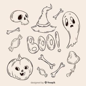 Halloween hand getrokken elementeninzameling