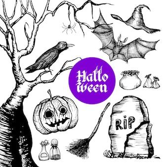 Halloween hand getrokken set