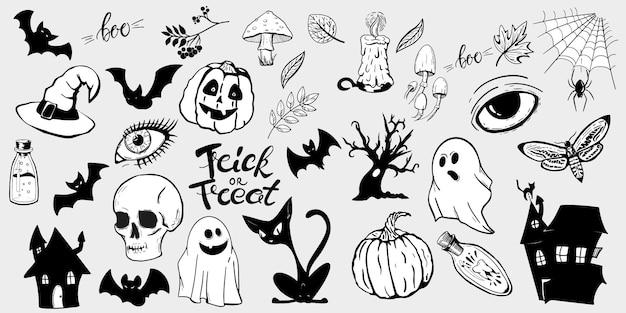 Halloween handgetekende set pictogrammen