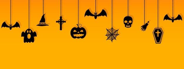 Halloween hangende ornamenten met schaduw