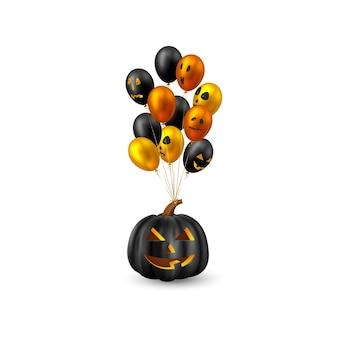 Halloween hangende pompoen met glanzende ballonnen. monster gezichten. geïsoleerd op een witte achtergrond. vector illustratie.