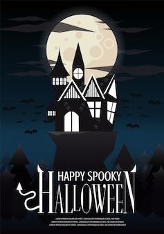 Halloween haunted house op de klif