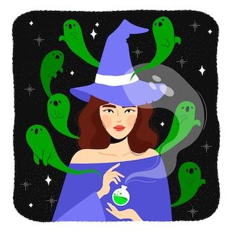 Halloween-heks die een spreuk maakt