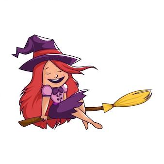 Halloween-heks die op magische bezemachtergrond vliegt