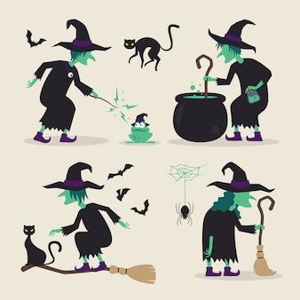 Halloween-heks doet verschillende activiteiten met hun bezems, zwarte katten, vleermuizen, kikker, spin, drankjes en ketel