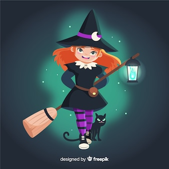 Halloween-heks en een zwarte kat