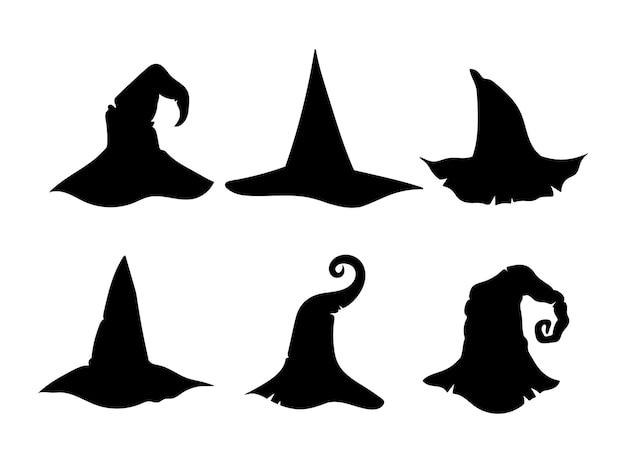 Halloween heks hoed silhouet bundel heksen tovenaar hoed zwart-wit geïsoleerde clipart