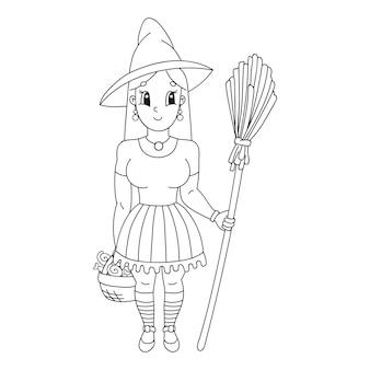 Halloween heks in hoed met bezem kleurboek pagina voor kinderen
