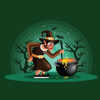 Halloween-heks kokend drankje
