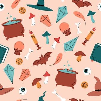 Halloween heks magische schattige naadloze patroon achtergrond vector illustratie voor stof en cadeaupapier