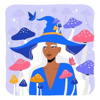 Halloween-heks met paddestoelachtergrond