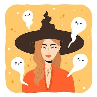 Halloween-heks met schattige geest