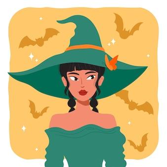 Halloween-heks met vleermuisachtergrond
