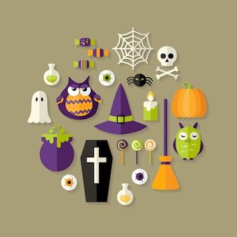 Halloween heks plat pictogrammen instellen. vector illustratie