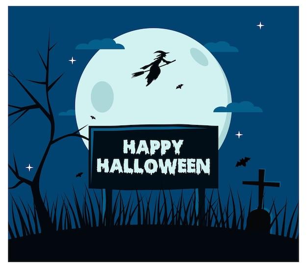 Halloween heks vliegen achtergrond plat ontwerp