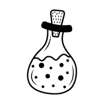 Halloween-heksendrankje in een glazen pot in doodle-stijl