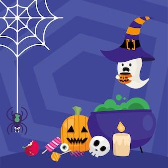 Halloween heksenkom met snoepjes en spookontwerp, eng thema