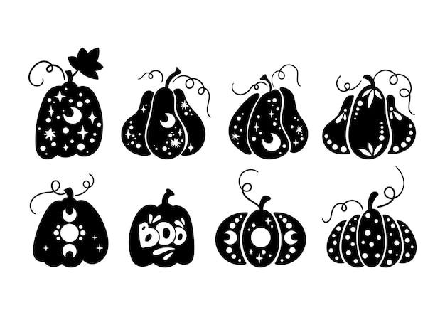 Halloween hemelpompoen geïsoleerde clipart herfst magische pompoen silhouet griezelig gesneden pompoen